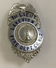 Vintage New York Long Island Fire Department Badge 1st Lieutenant Sterling