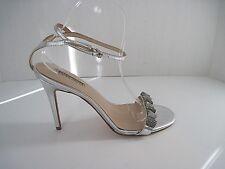 Charles David Silver Leather Rhinestones Front Slingback Heels 8.5B ($195 Value)