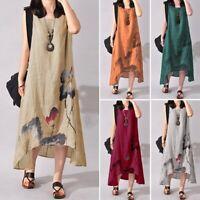 Ladies Dress Linen Blue Floral Asymmetrical Sleeveless Sz XL (says 3XL) BNWT