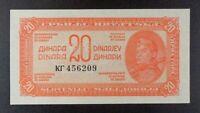 1944 Yugoslavia 20 Dinara Banknote, P-51b.