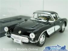 CHEVROLET CORVETTE MODEL CAR 1957 1:34 SCALE BLACK + DISPLAY CASE KINSMART C1 K8