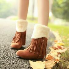 New Fashion Womens Tassle Round Toe Flats Heels Ladies winter Casual Boots