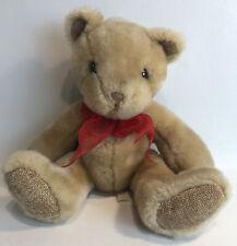 "First And Main Teddy Bear Plush Stuff Animal Corduroy Feet Red Bow ""Sweetie Pie"""