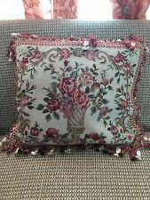 "Red Floral Aubusson Handmade Needlepoint Decorative Pillow 16""x20"" with Tassels"