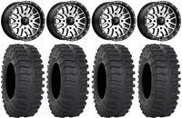 "MSA Machined Brute 14"" UTV Wheels 32"" XT300 Tires Kawasaki Mule Pro FXT"
