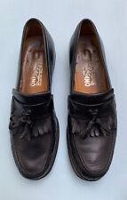 Salvatore Ferragamo Shoes 8 D Black Leather Loafers Mens Kiltie Tassel Slip On