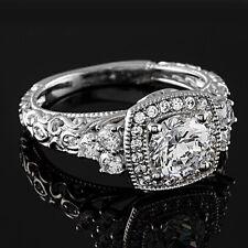 Halo Pave 1.21 Carat SI1/H Round Diamond Engagement Ring 14K White Gold