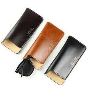 Leather Slip In Eyeglass Pouch Slim Travel Sunglasses Case Holder Eyewear Sleeve