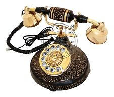 Vintage Victorian Telephone Antique Brass Rotary Phone Nautical Desk Decorative