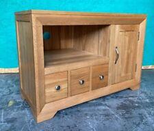 Solid Oak TV / Entertainment 3 Draw 1 Door Cabinet Oak Furniture Land