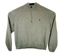 Polo Ralph Lauren Mens 2XL Gray 1/4 Zip Sweater Long Sleeve Mock Neck Pullover