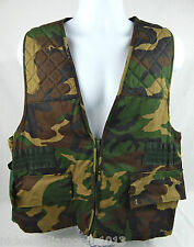 Sports Afield Hunting Game Vest Mens LARGE Woodland Camo Shell Loops Game Pouch