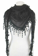 Decorative cotton blend triangle scarf shawl flower motifs and tassels 5 colours
