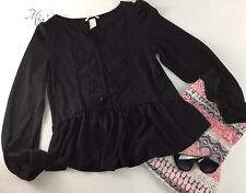 H&M Women's Blouse  Size XS Black V Neck Or Regular Long Sleeves