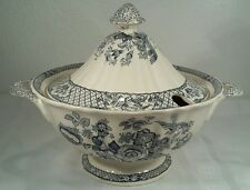 Masons Ironstone Stratford Royal Blue Antique Soup Tureen Birds & Lattice