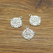 20 Compass Charms Nautical Travel Hiking Map DIY Charms Antique Silver 18x21 910