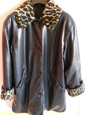 GIACCONE/Jacket tg/size 46 EcoPELLE/Synthetic Leather PELLICCIA/Fur Nero/Black