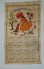 Vintage 1977 Linen Fabric Tea Towel Wall Calendar Happiness Is. Girl with Dog