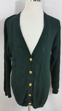 Vintage WORTHINGTON Irish Green Ramie-Cotton Cardigan W/ Gold Buttons Sz Med/Lg