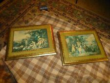 Vintage ITALIAN WOOD TOLE PICTURE WALL HANGING Set Of 2 W/ Courting ITALY