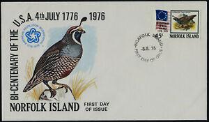 Norfolk Islands 197 on FDC - Bird, US Bicentennial, Flag