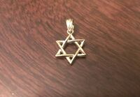 """14K YELLOW GOLD SMALL POLISHED STAR OF DAVID CHARM  PENDANT  - 0.75"""" INCH LENGTH"""