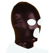 Fanatical Spandex With Latex Hood Full Mask Nose Eyes Mouth Open NightClub Black
