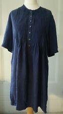 TOAST Silky Blue Pintuck Detail Cupro Tunic Dress Size 14 VGC