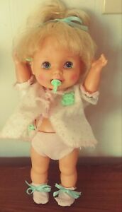 """HASBRO BABY DOLL BABY EAT AND GROW 1990,S 15"""" WORKS"""