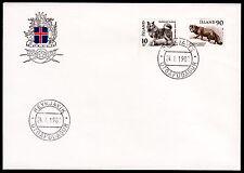 Island 550-51 FDC, Tiere / Fuchs + Hund