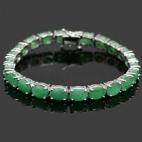 Oval Cut 8x6 mm Natural Gemstone Sterling 925 Silver Tennis Emerald Bracelet
