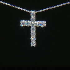 3.30 TCW CERTIFIED MOISSANITE CROSS PENDANT NECKLACE IN 14K WHITE GOLD PLATED