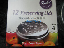 One Dozen Fowlers Vacola **STAINLESS STEEL**  Preserving Lids size 4 BRAND NEW