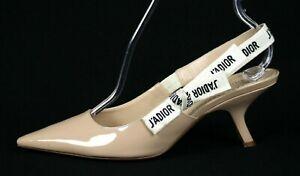 CHRISTIAN DIOR $950 Nude Patent J'ADIOR Ribbon Bow Slingbacks Pumps 40