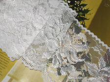 """6 yards 5 3/4"""" width non stretch white color scalloped edges lace trim"""