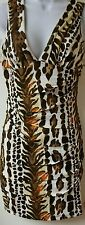 dress by niki biki printed brown colors size small scrunches in the front v neck