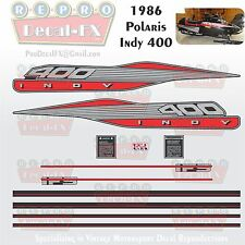 1986 Polaris Indy 400 Graphics Repro 11Pc Snowmobile incl Tunnel & IFS Decals