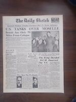 DAILY SKETCH WWII NEWSPAPER SEPTEMBER 8th 1944 ALLIES ADVANCE ON GERMANY