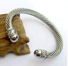 Silver Big stainless steel Rope Wire Chain End Cuff Bangle Women Men's Bracelet