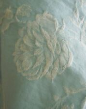 Antique Vtg French Blue Roses Lily of the Valley Floral Ticking Damask Fabric