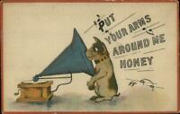 Dog Listening to Music Phonograph Gramophone c1915 Postcard