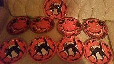 8 VINTAGE STYLE-BEISTLE-HALLOWEEN PAPER PLATES-BLACK🐱CATS-1928-REPRO-LOW SHIP!