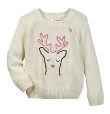 JOE FRESH $49 White Ivory BABY GIRLS 12 - 18 Mo EMBROIDERED SWEATER Reindeer NWT