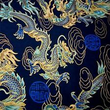 Japanese Daiwabo Cotton Fabric Per 1/2 Yd, Metallic Gold & Aqua Dragons on Blue