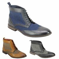 Mens Faux Leather Tweed Classic Oxford Brogue Boots Formal Vintage Lace up Shoes