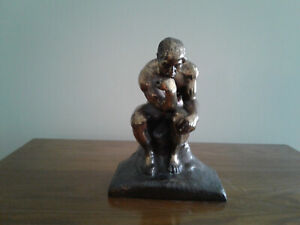 """6"""" Auguste Rodin """"The Thinker"""" Vintage Cast Bronze Statue From Estate - FREE S&H"""