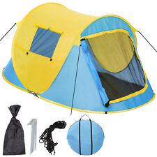 Tienda de Campaña Instantánea pop Up 2 personas plazas acampar camping amarillo.