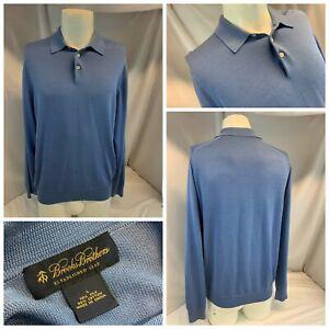 Brooks Brothers Sweater Polo Shirt L Men Light Blue Silk Cotton YGI J1-327