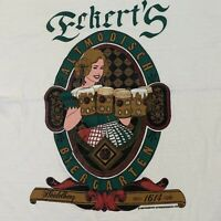 Eckherts Beer T Shirt Adult M White Illinois Drinking Germany Vintage 90s USA