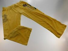 Ed Hardy Womens Yoga Sweat Pants Size 2XL XXLarge Yellow Velour Pocket-Less Gym